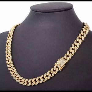 Other - New 18 k gold Cuban chain necklace